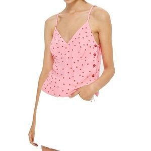 Topshop Pink Polka Dot Button-Detail Cami Top